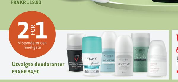 Deals on Utvalgte deodoranter from Apotek 1 at kr 84,90