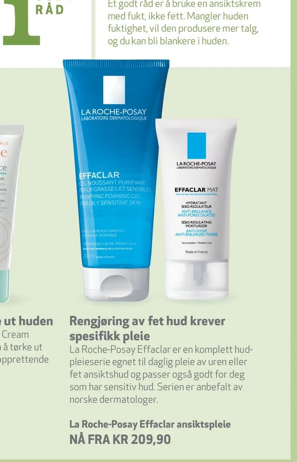 Deals on La Roche-Posay Effaclar ansiktspleie from Apotek 1 at kr 209,90