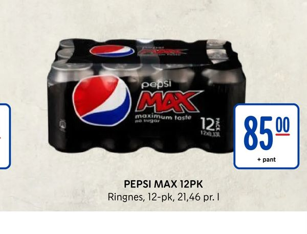 Deals on Pepsi max 12pk from REMA 1000 at kr 85