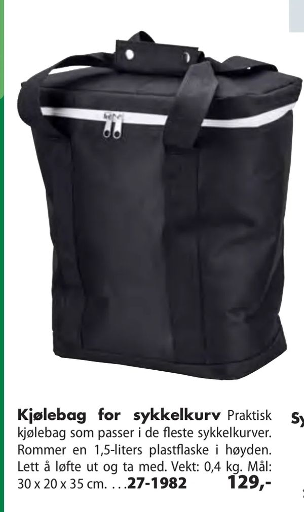 Deals on Kjølebag for sykkelkurv from Biltema at kr 129
