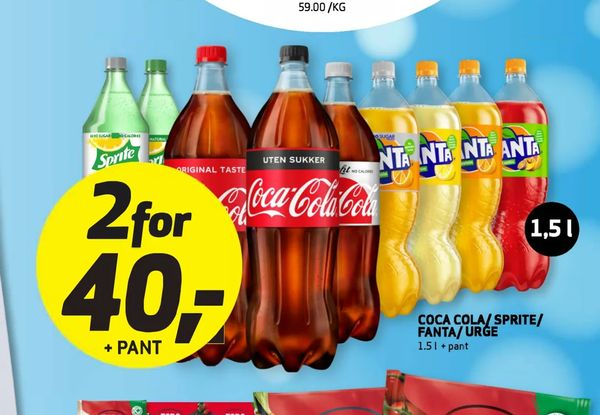 Deals on Cocacola/Sprite/Fanta/Urge from Bunnpris at kr 40