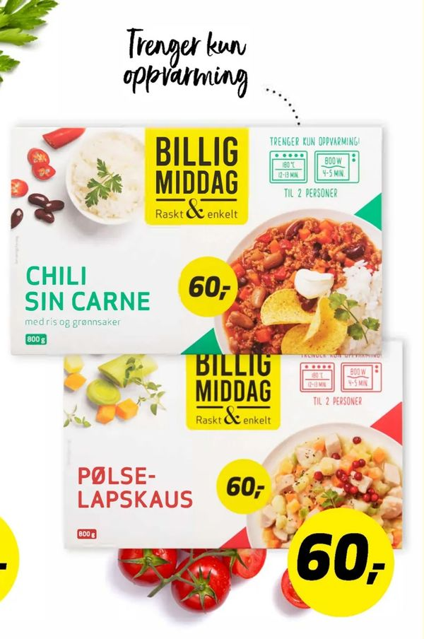 Deals on Chili sin carne, pølse lapskaus from Bunnpris at kr60